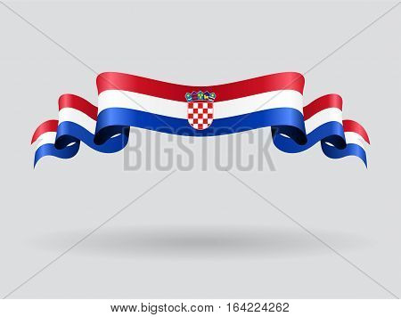 Croatian flag wavy abstract background. Vector illustration.