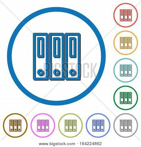 Binders flat color vector icons with shadows in round outlines on white background