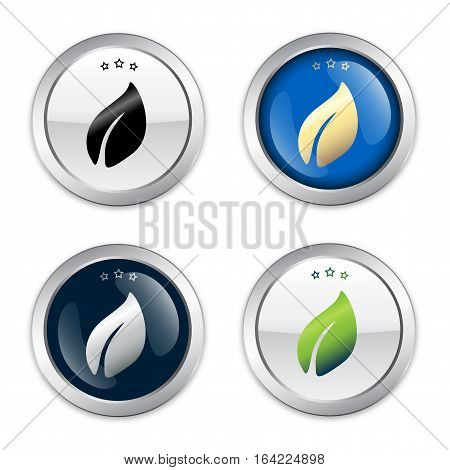 Nature seal or icon set. Glossy silver natural seal or button.
