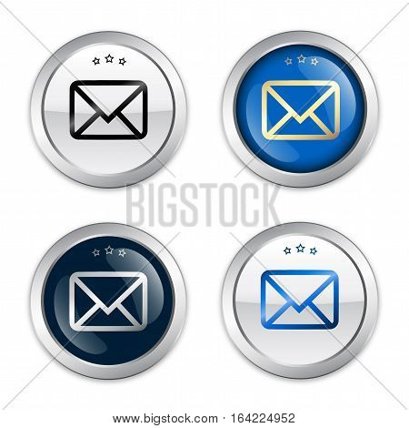 Message seal or icon set with envelope symbol. Glossy silver seal or button.