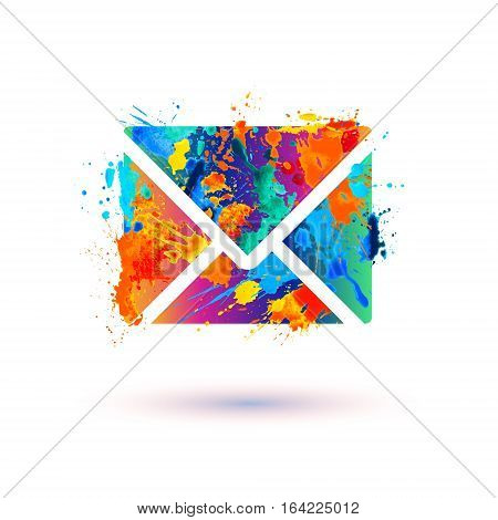 Envelope vector icon. Message splash paint sign