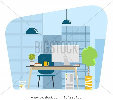 Contemporary modern office workplace with big window skyscrapers cityscape city view Vector illustration