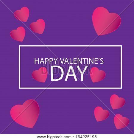 Card vector illustration in violet background Happy Valentine's Day card vector illustration in violet background