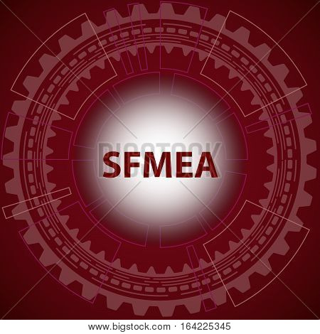 Software failure mode and effect analysis strategy background. Red background with gear and title SFMEA in middle.