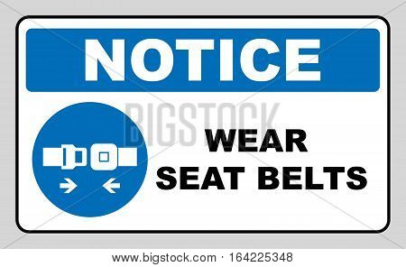 Wear seat belts sign. Information mandatory symbol in blue circle isolated on white. Vector illustration. Notice label
