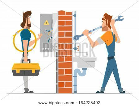Electrician and plumber man working. Home house repair service. Color vector illustration.