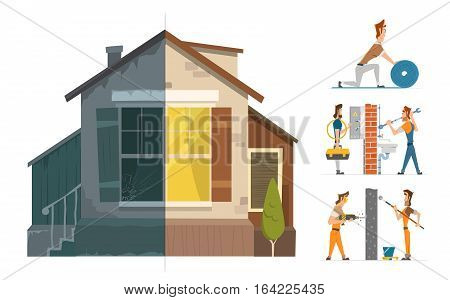 Home house repair renovation service. Before and after creative concept. Color vector illustration.