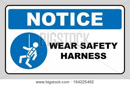 Wear safety harness sign. Information mandatory symbol in blue circle isolated on white. Vector illustration. Notice label