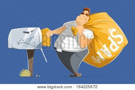 Fat man spammer with big sack of spam sending putting a mail in old mailbox.