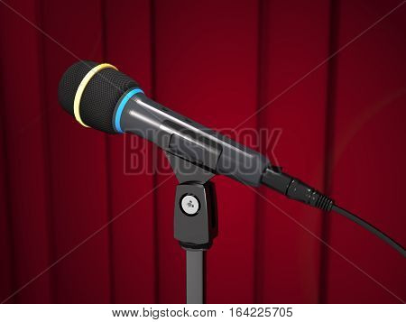 Concert microphone is on the stand on red curtain background (3d illustration).