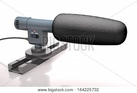 Reporter's microphone on the stand on a white background (3d illustration).