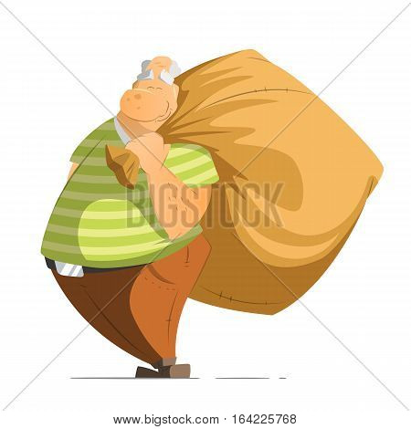 Funny happy old man oldman millionaire or billionaire pensioner holding a big money bag sack. Isolated on white background.