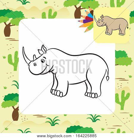 Cute cartoon rhino. Coloring page. Vector illustration