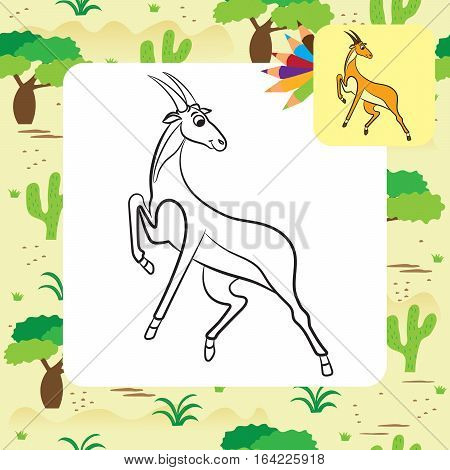 Illustration of cute antelope. Coloring page. Vector illustration