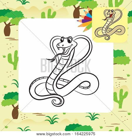 Illustration of cobra snake. Coloring page. Vector illustration