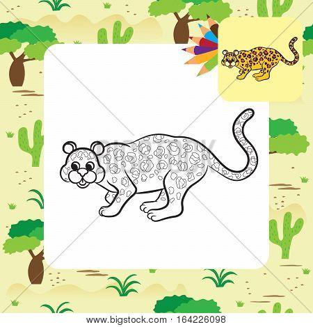 Leopard vector illustration. Coloring book. Vector illustration