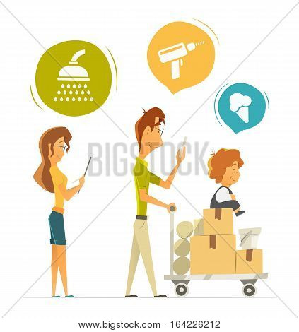 Happy family with cart trolley buying shopping in hardware household shop store. Color vector illustration. Isolated on white background.