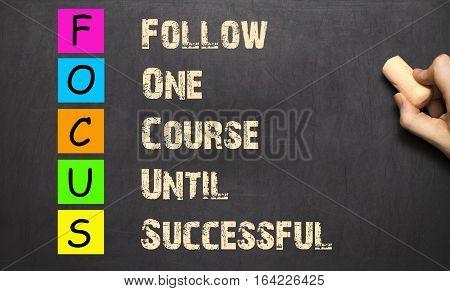 Conceptual Focus Acronym Written On Blackboard