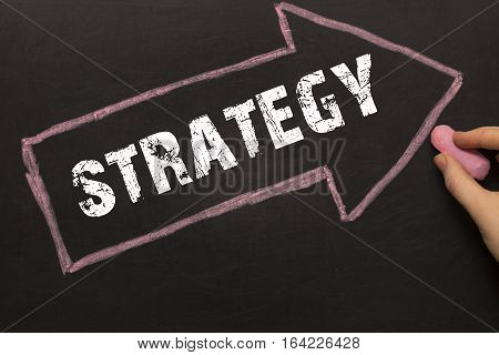 Strategy - Female Hand With Chalk And Arrow