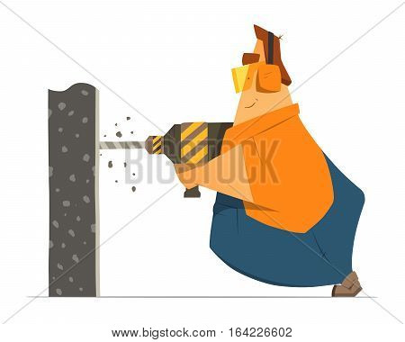 Fat man repairman builder worker drilling a wall using perforator drill. Home house repair color vector illustration.