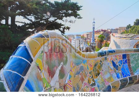 Park Guell in Barcelona Spain. Part of mosaic bench