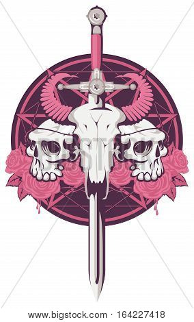 emblem with bull and human skull pierced with a sword and roses with a pentagram