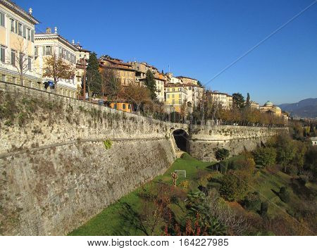 Beautiful Landscape of Citta Alta, the Upper Town of Bergamo, Northern Italy