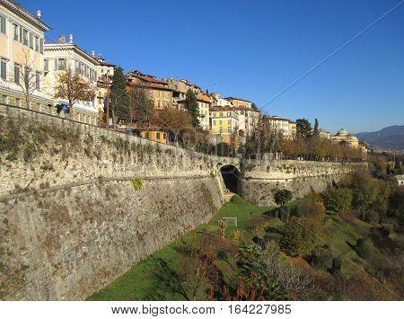 Beautiful Landscape of Citta Alta, the Upper Town of Bergamo, Northern Italy