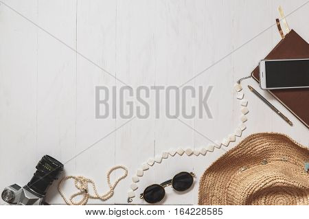 Travel Set Of Hipster Girl: Female Accessories On The White Planked Surface.