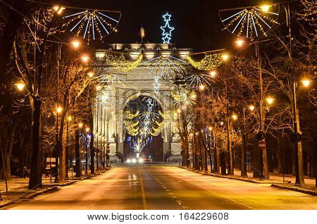 The Arch Of Triumph (arcul De Triumf) From Bucharest Romania, Christmas Lights Ornaments, View From