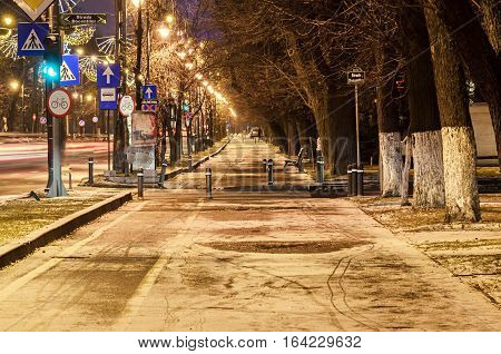 Alley From European City, Night Winter Time, Bucharest Romania