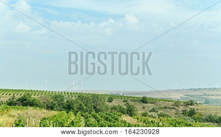 Eolian Field And Wind Turbines Farm, Countryside With Green Hills