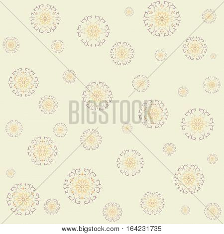 Lace vector  with snowflakes in gentle tones on yellow background. Seamless lacy boho pattern is perfect backdrop for your text, illustration, packaging paper, wrapping packages, etc. Square.