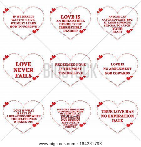 Set Of Quotes About Love Over White Background. Simple Heart Shape Design.