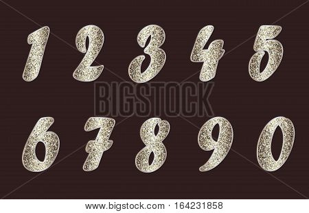 Standard set of numbers. Vector collection in golden-brown tones, texture with spangle. Can be used as a design element, separate project, etc. Isolated on dark background. Horizontal.