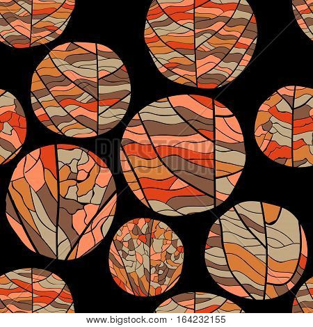 Seamless autumn floral vector pattern. Curve circles of different shades of red color with veins inside on black background.