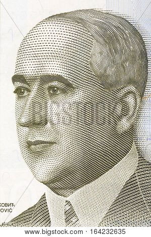 Milutin Milankovic portrait from Serbia's money - 2000 dinar's
