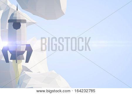 Abstract polygonal rocket ship and clouds on blue background with copy space. Startup concept. 3D Rendernig