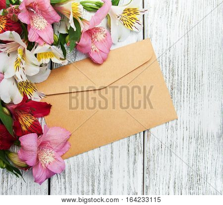 Paper Envelope With Alstroemeria Flowers