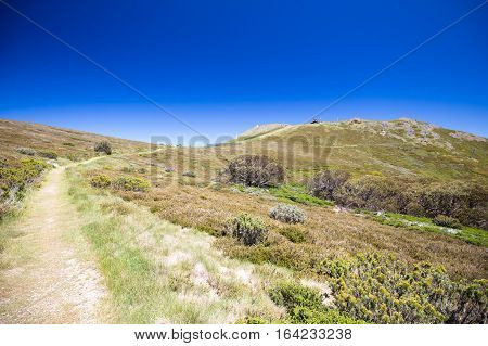 Mount Buller landscape on a hot summer's day in Victoria, Australia