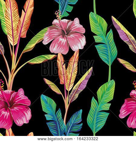 Composition of the tropical green banana leaves and red hibiscus flower black background. Seamless wallpaper pattern