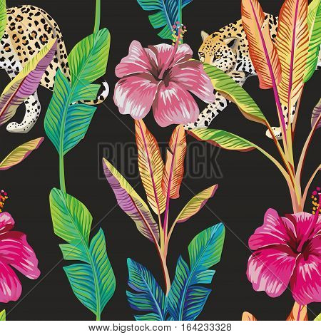 Composition of the tropical green banana leaves red hibiscus flower wild animal leopard black background. Seamless wallpaper pattern