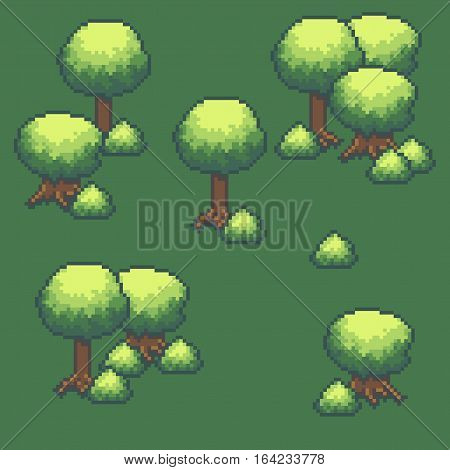 Pixel art background with trees and bushes