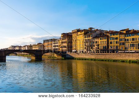 View Over Arno River To The Ponte Santa Trinita