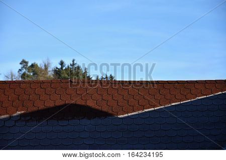 Roof with asphalt shingles is partly frostbitten. Roof.