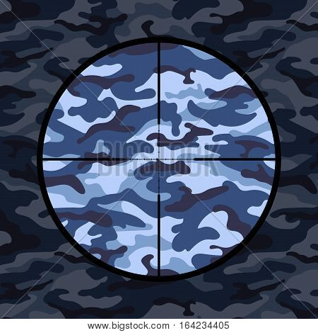 Military background with sniper scope on blue camouflage. Vector