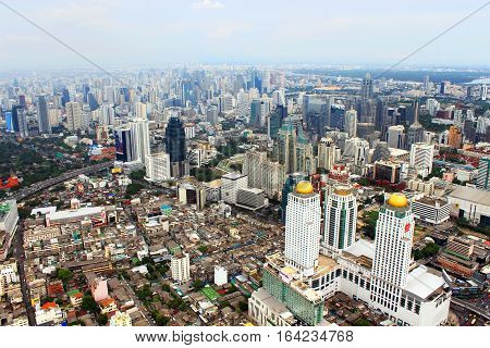 BANGKOK, THAILAND - JUNE 2, 2013: Panorama view over Bangkok in Bangkok, Thailand. Bangkok is the biggest city in Thailand with 702 million inhabitants