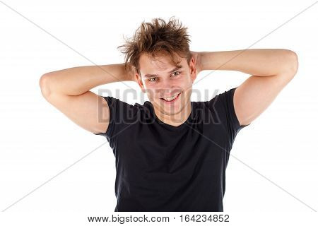 Picture of a sexy young guy posing on an isolated background