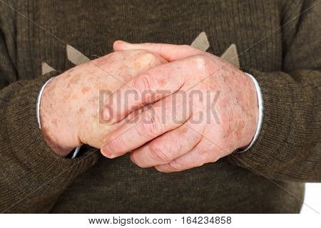 Close up picture of a senior man's hands