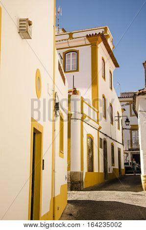 streetview of the city center of Evora unesco heritage site.